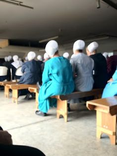 Amish Wedding ~ Wedding Guests on Benches on the Ladies Side for the Wedding Ceremony and Service~ Sarah's Country Kitchen ~