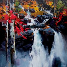 Adele Campbell Fine Art Gallery in Whistler BC features artwork for sale by emerging and established contemporary Canadian artists working in painting and sculpture. Watercolor Landscape, Landscape Art, Landscape Paintings, Watercolor Paintings, Landscapes, Watercolors, Canadian Painters, Canadian Artists, Waterfall Paintings