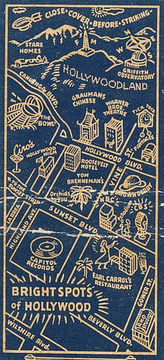 Bright Spots of Hollywood. Map of Hollywood and Los Angeles on a matchbook.