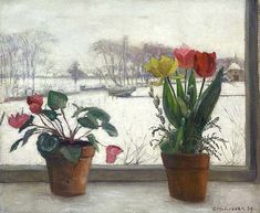 Modersohn - - Flowers in Window, Winter. Oil on canvas. -Otto Modersohn - - Flowers in Window, Winter. Oil on canvas. Blooming Flowers, Cartography, Still Life, Oil On Canvas, How To Draw Hands, Modern, Windows, World, Painting