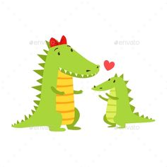 Crocodile Mom With Red Bow Animal Parent And Its Baby Calf Parenthood Themed Colorful Illustration With Cartoon Fauna Characters.