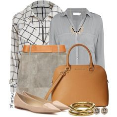 A fashion look from March 2015 featuring button shirts, white jacket and brown skirt. Browse and shop related looks.