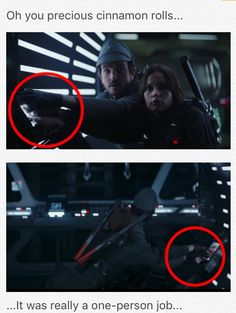 Jyn and Cassian, working together to put that Imperial Officer's *right* hand on the sensor pad