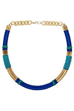 Women's Fashion Accessories - Next Blue And Gold Woven Necklace