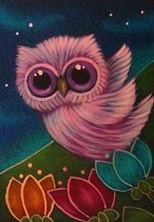 Art: TINY OWL FLYING IN MY FLOWERS GARDEN by Artist Cyra R. Cancel