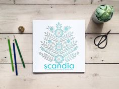 The Scandia colouring book is full of Scandinavian folk-inspired patterns and illustrations of nature and wildlife to colour in. Created by textiles and homeware designer Zeena Shah // thatscandinavianfeeling.com