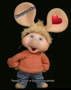 Topo Gigio immagini Buona Notte Arte Quilling, Childhood Memories, Teddy Bear, Christmas Ornaments, Pasta Flexible, Biscuit, Poems, Nighty Night, Childhood Friends
