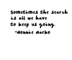sometimes the search is all we have to keep us going. -donnie darko