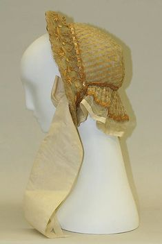Bonnet Date: ca. 1850 Culture: American Medium: straw, horsehair, silk Dimensions: Height: 11 1/4 in. (28.6 cm)