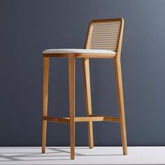 Modern Minimal Style, Solid Wood Stool, Textiles or Leather Seatings, Caning Backboard For Sale Outdoor Bar Stools, Wood Bar Stools, Wood Stool, Stool Chair, Kitchen Stools, Bar Chairs, Dining Chairs, Desk Chairs, Island Chairs