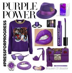 """Purple Power"" by queen0fdisaster on Polyvore featuring mode, Gucci, Charlotte Russe, Ferrucci, Steve Madden, NYX, Polaroid, Rolex, Swarovski en purplepower"