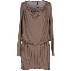 Guess Short Dress (7.240 RUB) ❤ liked on Polyvore featuring dresses, khaki, long sleeve jersey, rayon dress, guess dresses, brown dress and short dresses