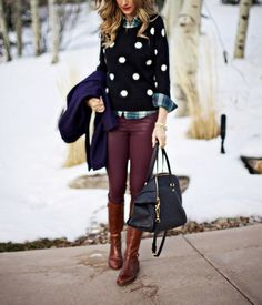 Mixing patterns and colors can be fun! A black and white polka dot will work with anything so pair it with a plaid and rock a colored pant! Outfit perfection!