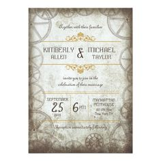 Steampunk Gears Wedding Personalized Announcement