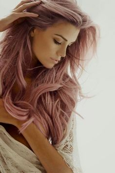 Love this rose coloured hair.