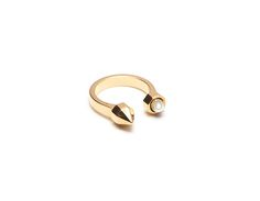 Open Ring With Stud & Encased Pearl