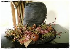 Primitive Frosty Top Hat Decoration with by ThePrimitiveStitch, $21.00