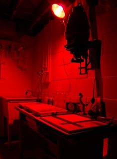 This looks like Maddie's darkroom in the first book of the Fortune Bay series. It looks like my old darkroom too.