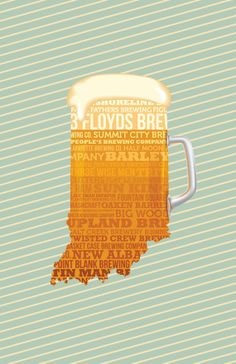 "Great ""Man Cave"" Father's Day gift! Download and Print your own 11x17 poster of Indiana Breweries."