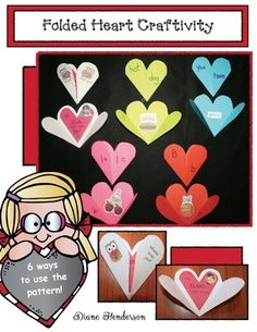 """Valentine's Day activities: This simple folded heart provides a variety of options to practice all sorts of things! LOVE the little owl valentine, and """"bucket filling"""" idea too. Valentines Day Activities, Holiday Activities, Holiday Crafts, Valentines Writing Prompts, Punctuation Activities, Valentine Bulletin Boards, Heart Crafts, Valentine Treats, Crafts For Kids"""