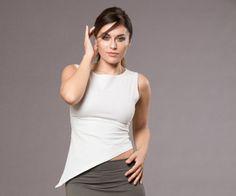 Asymmetrical Top White Jersey Cotton Blouse Women's by MichalRomem