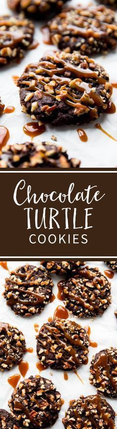 Chocolate Turtle Cookies - like your favorite turtle chocolate candies in cookie form! Recipe at sallysbakingaddiction.com