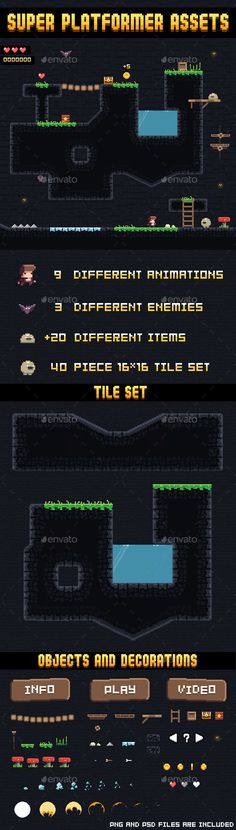 Super Platformer Assets — Photoshop PSD #pixel #game • Available here → https://graphicriver.net/item/super-platformer-assets/11736554?ref=pxcr