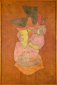 Paul Klee - Dama demonio (Dame Dämon), 1935. 150,5 cm x 100 cm. Acuarela y óleo sobre arpillera enyesada, montada sobre cartón. 30,8 cm x 52,6 cm. Fundación Klee, Kunstmuseum, Berna. El fondo es de óleo, para lograr más opacidad. A Klee le gustaba mezclar las técnicas para lograr varios efectos a la vez, y así, la figura conserva el efecto de la acuarela pero el fondo es más opaco con el óleo.