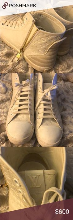 Authentic white side zip high top tennis shoes. Worn very few times. Very good condition. Comes with dust bags and shoe box Louis Vuitton Shoes Ankle Boots & Booties