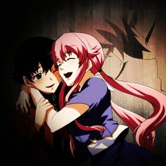 Yuki y Yuno (Mirai Nikki) - Mirai Nikki Girls Anime, Anime Couples Manga, Cute Anime Couples, Manga Girl, Kaneki, Yuno Mirai Nikki, South Park, Animes Yandere, Yandere Girl