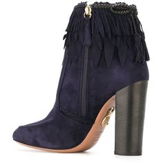 Aquazzura 'Tiger Lily' fringed ankle boots ($1,140) ❤ liked on Polyvore featuring shoes, boots, ankle booties, fringe booties, ankle boots, blue suede booties, suede bootie and blue booties