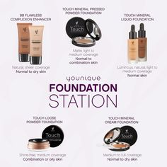 """Every skin type is different and every skin type requires its on """"Younique"""" coverage. That's why Younique offered a foundation for everyone! Message me to be color matched!   www.autumnsyouniquelyyou.com"""