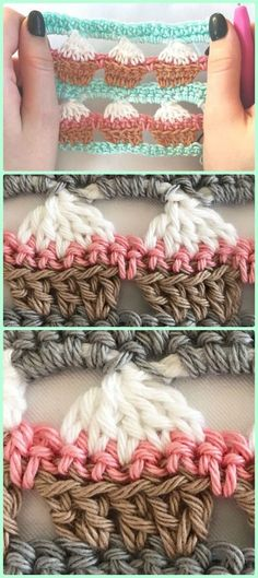 Crochet Stitch Crochet Cupcake Stitch Free Pattern [Video] - You'll know how to reinforce a buttonhole, sew a pillowcase, and learn other handy stitches. Crochet Gratis, Crochet Amigurumi, Knit Or Crochet, Crochet Motif, Crochet Flowers, Crochet Edgings, Crochet Afghans, Crochet Borders, Crochet Stitches Patterns