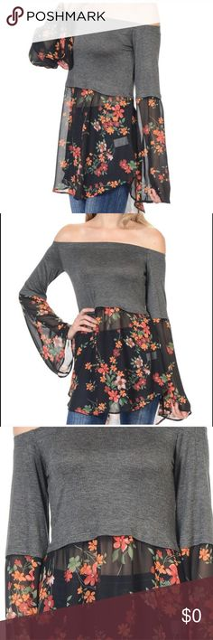 Floral Shoulder Top Gorgeous floral flowy hem. Gray off the shoulder romantic boho look!! Great paired with leggings or jeans! Rayon, Spandex, polyester. Size S, M, L, XL   Style tip: Go up one size if you are broad shouldered. Love this top! ❤️ Bellino Clothing Tops Tunics