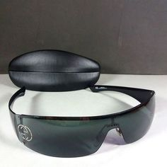 fd9f9770371 Gucci GG 1824 S Strass Logo Black Grey Vintage Shield Sunglasses w Case