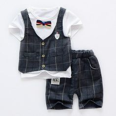 Boys Suit 2017 summer new boys clothes set baby boy cotton plaid casual suit Baby Boy Dress, Casual Suit, Boys Suits, Overall Shorts, Outfit Sets, Boy Outfits, Overalls, Fashion Dresses, Plaid