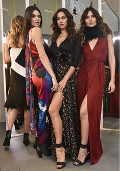 Glam team: Kendall, Irina and Lily Aldridge looked absolutely gorgeous together, each of them showing what they've got in terms of enviable assets