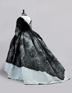 Blue ball gown with shawl