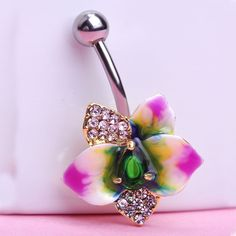 Epoxy Enamel Floral Belly Button Rings Sexy Body Jewelry Bars Piercings Needle VAZ Brand Luxury Jewelry Lot Spiral For a Navel