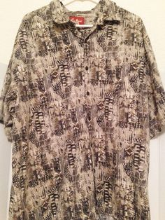 Pau Hana Brown Tan Aloha Hawaiian Tiki Camp Geometric Shirt Cotton Polyester 3XL #PauHana #Hawaiian