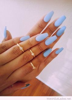 Sky blue gel manicure