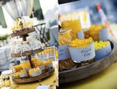 Image result for blue and yellow wedding candy buffet