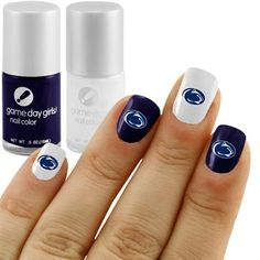 Penn State Nittany Lions Nail Polish Kit with Decals - - To decorate magicbands Penn State Game, State Crafts, Nail Polish Kits, Pennsylvania State University, Nittany Lion, Types Of Nails, Creative Nails, Nail Stamping, Mani Pedi