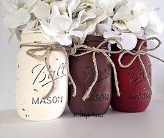 Set of 3 hand painted mason jars. Use as a centerpiece, bathroom organizer, desk organizer, nursery decor, shower or housewarming gift, etc.