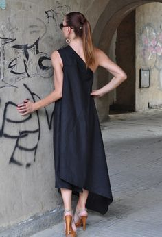 Black Kaftan Linen Dress / One Shoulder Dress / by EUGfashion