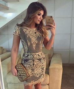 {Golden lace } Vestido @desnude renda dourada poderosa bordada de pérolas!!
