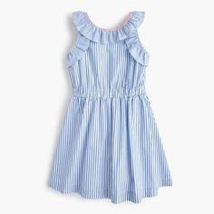 girls' ruffle dress in shirting stripe - girls' dresses Toddler Girl Dresses, Little Girl Dresses, Girls Dresses, Toddler Girls, Women's Dresses, Tween Fashion, Girl Fashion, Fashion Outfits, Teenager Fashion