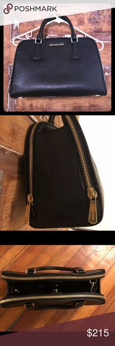Michael Kors Black Leather Purse Gorgeous Micheal Kors Black Leather Bag.  Can be carried as a satchel or also comes with leather shoulder strap.  Gold zippers and accents.  Pristine condition. Michael Kors Bags Satchels