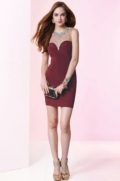 Noble Jewel Mini Burgundy Chiffon Sheath Column Cocktail Homecoming Dress Cac0094