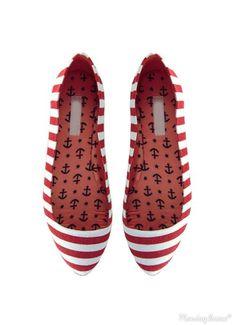 0173fb543b7f Red Nautical Stripe Ballerina Flats  anchor  nauti Striped Flats